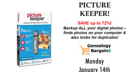 Save up to 72% on Picture Keeper - backup all your digital photos and look for duplicates too! See all the deals at Genealogy Bargains for Monday, January 14th, 2019