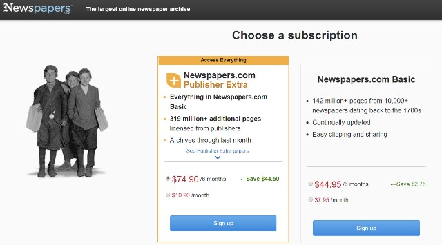 Right now, Newspapers.com has an amazing offer if you use historical newspapers as part of your genealogy research! Get the Publishers Extra version of Newspapers.com for a six-month period for just $74.50 USD! The regular price is $118.50 USD and this is a savings of 37% off that price.