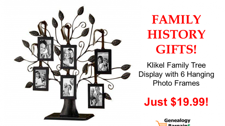 Klikel Family Tree Display with 6 Hanging Picture Photo Frames - just $19.99! Get the latest Genealogy Bargains for Tuesday, February 12th, 2019