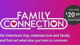 Save $20 on Family Finder DNA test kit - the same autosomal DNA test as AncestryDNA - just $59 during the Family Tree DNA Sale for Valentine's Day!