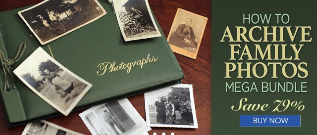 Family Tree Magazine: Save 79% on all the tools you'll need to archive your photos, from organization tips to editing, preservation and backup with the How To Archive Family Photos MEGA Bundle! Regularly $337.88, now just $69.99!
