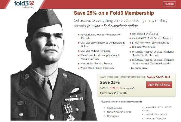 Get Access to MILLIONS of City Directories, Newspapers as well as Military Records and Save 25% at Fold3
