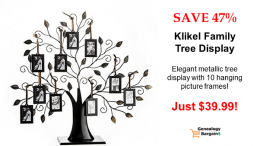 Show off your family history! Save 47% on Klikel Family Tree Display at Amazon!  See all the latest Genealogy Bargains for Monday, February 25th, 2019