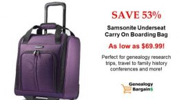 Save on Samsonite Underseater Carry On Bag for research trips & conferences! See all the latest Genealogy Bargains for Saturday, February 23rd, 2019