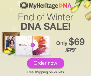 MyHeritage DNA End of Winter Sale - just $69! Get the popular MyHeritage DNA test kit similar to AncestryDNA, Family Tree DNA and other DNA testing companies. You'll have access to more ethnicities than any other major vendor PLUS receive your results much faster than other companies. Click HERE to shop and don't delay!