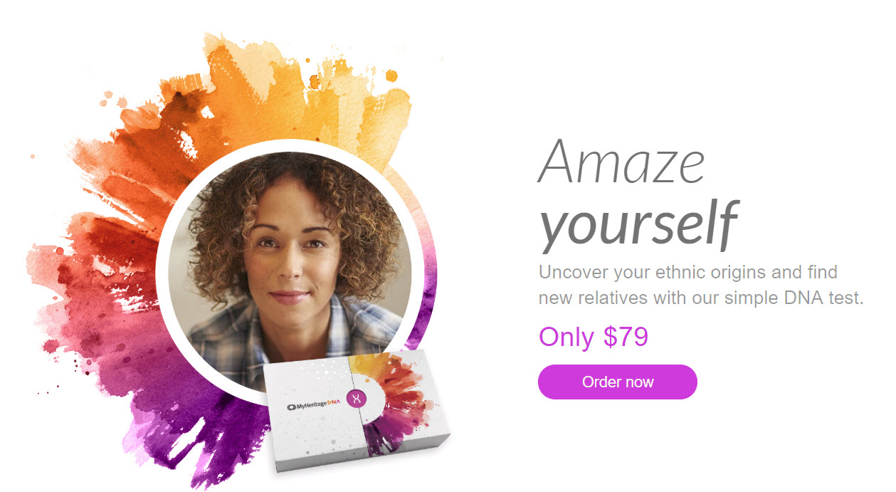 MyHeritage DNA just $79 USD! The MyHeritage DNA test kit is the same autosomal DNA test kit as 23andMe, Ancestry DNA and others