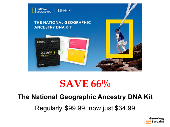 Save 66% on National Geographic DNA test kit from Helix! The latest deals at Genealogy Bargains for Friday, March 1st, 2019!