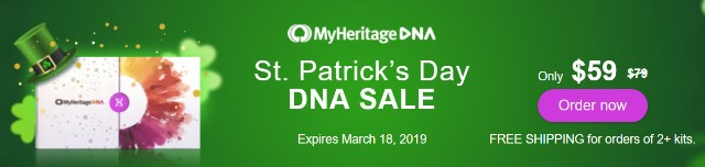 MyHeritage DNA St. Patrick's Day Sale - just $59! Get the popular MyHeritage DNA test kit similar to AncestryDNA, Family Tree DNA and other DNA testing companies. You'll have access to more ethnicities than any other major vendor PLUS receive your results much faster than other companies. FREE SHIPPING when you purchase 2 or more MyHeritage DNA test kits! Sale ends March 18th, 2019.