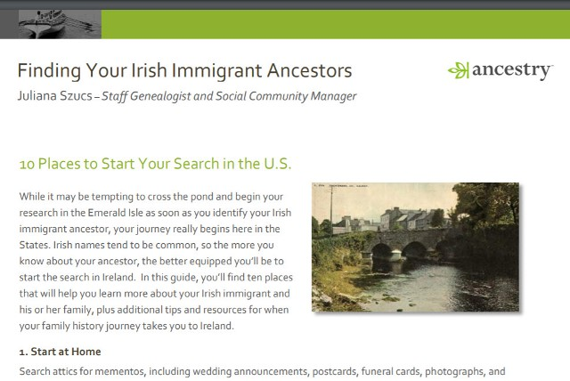 FREE DOWNLOAD Finding Your Irish Immigrant Ancestors from