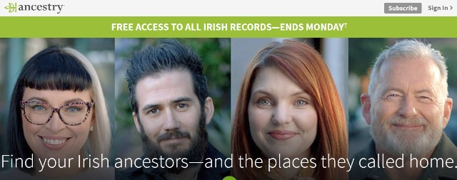 Ancestry: FREE ACCESS to over 140 MILLION Irish records including passenger lists, peerage and royalty directories, census records, photos, and more. Free access valid through Monday, March 18th