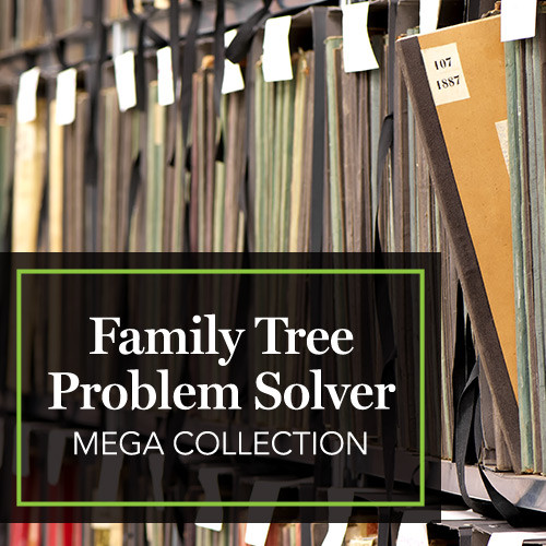 "Family Tree Magazine: Save 79% on the Family Tree Problem Solver MEGA Collection! PLUS get FREE SHIPPING when you purchase before Wednesday, March 6th! ""Break down those brick walls and blast through your research roadblocks! Often genealogy records are lost, destroyed, or incomplete but that doesn't mean your research trail has to run cold! This jam-packed MEGA collection will give you practical advice for solving your genealogy roadblocks. These NINE resources will give you the solutions you need to conquer genealogy's toughest challenges. Don't wait, get this MEGA collection today and discover new and unique tools for tackling research challenges!"" Valued at $284.91, this MEGA collection is a bargain for only $59.99! Plus, get free U.S. shipping on the physical book included in the collection when you buy before Wednesday. No coupon code necessary. Simply add the collection to your cart."