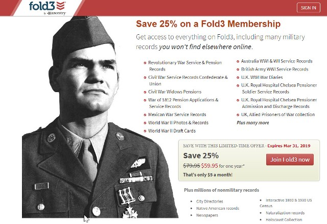 Fold3: Save 25% on Annual Subscription at Fold3 with access to military records, city directories and newspapers. Did you know that Fold3 has over 2 million pages (around 100 million names), in its City Directories Collection with records dating back to 1785. Before phone books came into the picture, many cities and towns published directories of their residents. Regularly $79.95 USD, pay just $59.95 USD!