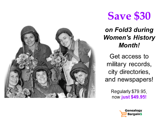 Save $30 on Annual Subscription at Fold3 - now just $49.95! See all the Genealogy Bargains for Friday, March 15th, 2019!