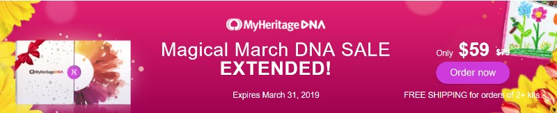 MyHeritage DNA: Save during MyHeritage DNA Magical March Sale! Pay just $59 PLUS get FREE SHIPPING when you purchase two or more DNA kits! Sale extended through March 31st!