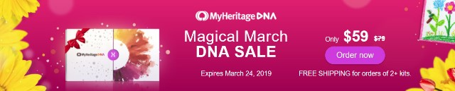 MyHeritage DNA: Save during MyHeritage DNA Magical March Sale! Pay just $59 PLUS get FREE SHIPPING when you purchase two or more DNA kits!