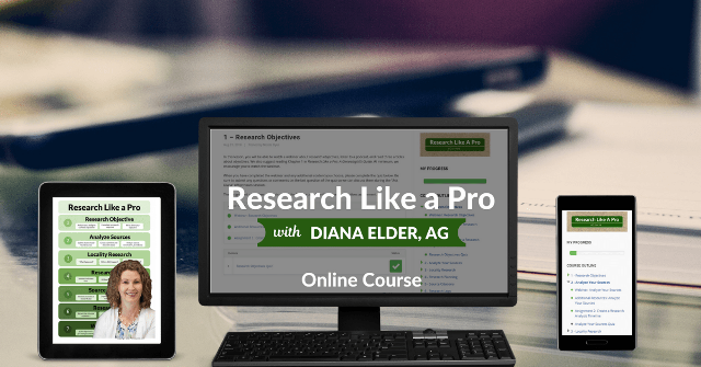 Could you use some structure in your genealogy research? Do you need help breaking down your brick walls? Take our Research Like a Pro eCourse to learn how to analyze records, make a research plan, create citations, keep a research log, and write a report. Watch eight webinars recorded by Diana Elder, AG.