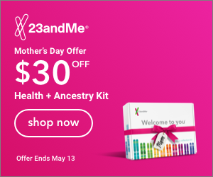 23andMe: Save $30 on 23andMe Health + Ancestry Service DNA test kit - regularly $199, now just $169! Sale valid through May 13th
