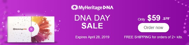 MyHeritage DNA: Save during MyHeritage DNA Day Sale! Pay just $59 PLUS get FREE SHIPPING when you purchase two or more DNA kits! Sale valid through April 28th!
