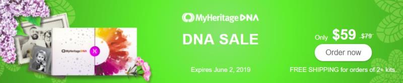 MyHeritage DNA: Save 25% and get MyHeritage DNA Ancestry-Only test kit for just $59 (regularly $79)! This is the same autosomal DNA test kit as AncestryDNA and other major DNA vendors! Sale valid through Sunday, June 2nd.