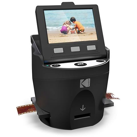 "Save 44% on KODAK SCANZA Digital Film & Slide Scanner! Converts 35mm, 126, 110, Super 8 & 8mm Film Negatives & Slides to JPEG – Includes Large Tilt-Up 3.5"" LCD, Easy-Load Film Inserts, Adapters & More. Regularly $229.99, now just $127.99!"