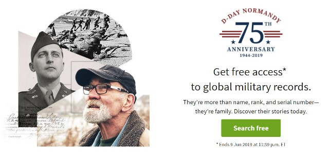 Ancestry: FREE ACCESS* to over 250 Million military records at Ancestry! In honor of the 75th anniversary of the D-Day Invasion at Normandy on 6 June 1944, Ancestry is providing free access all weekend to its global military records collection!