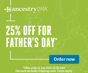 AncestryDNA UK: Save 25% during AncestryDNA Father's Day Sale! You pay just £59! Sale valid through June 12th.