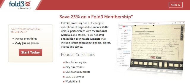 Save $20* on Annual Subscription at Fold3 and get access to over 545 MILLION military records, city directories and newspapers. And did you know that Fold3 has over 2 million pages (around 100 million names) in its City Directories Collection with records dating back to 1785? Regularly $79.95 USD, pay just $59.95 USD!