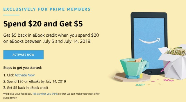Amazon: $5 eBook Credit when you spend $20 on eBooks! This offer is available for Amazon PRIME MEMBERS ONLY now through July 14th.
