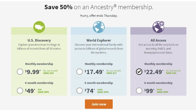 Ancestry: Save 50% on Ancestry Memberships during 4th of July Flash Sale! TWO DAYS ONLY - you MUST take advantage of this rare sale TODAY or TOMORROW - sale valid through Thursday, July 4th!