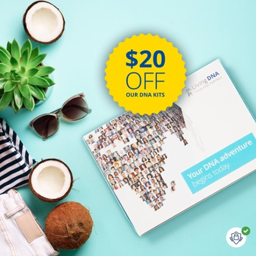 Living DNA: Save $20 on Living DNA during Living DNA Summer Sale! Living DNA is the world's most advanced DNA test, offering twice the detail of other ancestry tests. If you have British or Irish heritage, this test is a MUST since it shows you the ethnic breakdown by region. Regularly $99 USD, now just $79 USD!