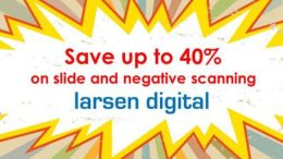 Save up to 40% on slide and negative scanning right now at Larsen Digital PLUS save 15% on converting home movies, audio tapes and even vinyl records!