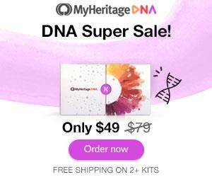 MyHeritage DNA Columbus Day Sale! LOWEST PRICE OF THE YEAR! Get the MyHeritage DNA Ancestry-Only test kit for just $49! This is the same autosomal DNA test kit as AncestryDNA and other major DNA vendors!  BONUS! Purchase 2 or more MyHeritage DNA test kits and standard shipping is FREE! Sale valid through October 14th.