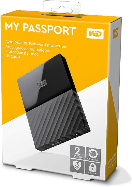 """Save 25% onWestern Digital 2TB Black My Passport Portable External Hard Drive USB 3.0. """"The My Passport portable hard drive is trusted to store the massive amounts of photos, videos and music you love. Available in an array of vibrant, fun colors, the sleek style fits comfortably in the palm of your hand, so you can easily take your treasured content everywhere you go."""" Regularly $79.99 USD, now just $59.99 USD! This is sold and shipped DIRECTLY by Amazon - no shady third-party sellers!"""