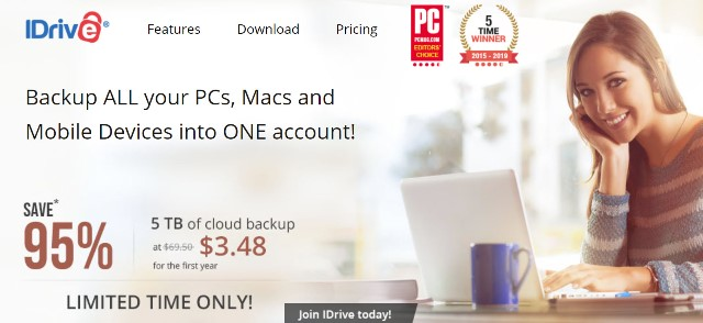 "Save 95% on iDrive 5TB automatic backup! Regularly $69.50 per year, you get the first year of 5TB cloud storage for just $3.95! Once you've scanned all those family photos, you need to have a data backup right? This is a ""set it and forget it"" program like Carbonite but much better: you can backup your mobile devices and even Facebook images!"