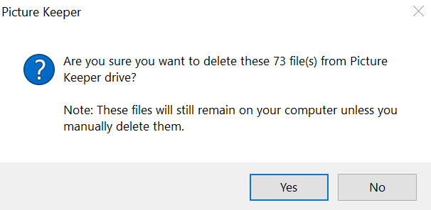 If you attempt to delete files from the Picture Keeper device, a warning will appear