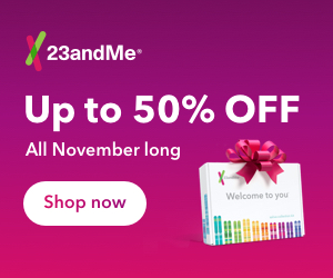 Save 50% on 23andMe Health + Ancestry Service! Regularly $199, right now through December 2nd you can get the popular 23andMe Health + Ancestry Service DNA test kit for just $99!