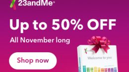 This holiday season give the gift of 125+ personalized reports on health and more - save 50% on 23andMe Health + Ancestry DNA test kits at Genealogy Bargains!