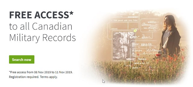 "Ancestry Canada: ""Discover the missing pieces of your family's military history. Find out more about where they fought and the experiences they had. Start completing your family's WWI story today with free access to service records, medical cards, casualty lists and much more—free until 11 November"