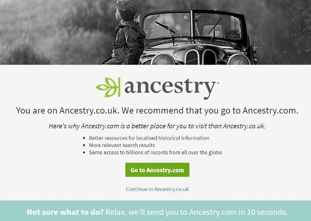 A warning may appear asking if you want to remain on the Ancestry.co.uk site:
