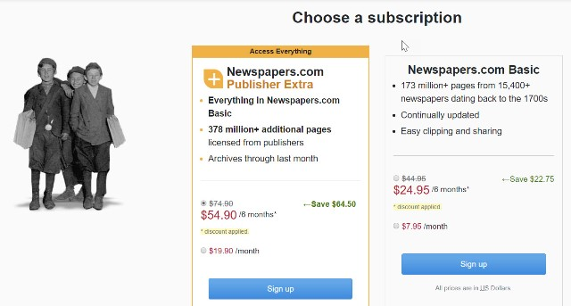 Right now, Newspapers.com has an amazing offer if you use historical newspapers as part of your genealogy research!  Get the Publishers Extra version of Newspapers.com for a six-month period for just $54.90 USD!  The regular price is $119.40 USD and this is a savings of over 50% off that price. Click HERE to get started . . .