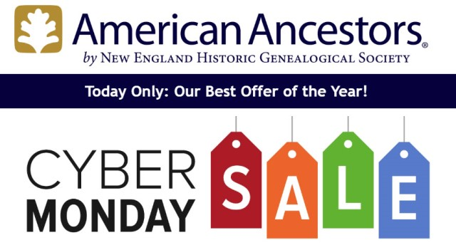 Save $30 on Individual Membership at American Ancestors! Regularly $94.95, now just $64.95! Use promo code CYBER19 at checkout. Sale valid through Monday, December 2nd.