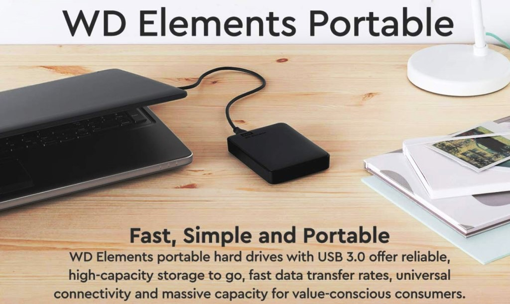 Save 36% on WD 4TB Elements Portable External Hard Drive! WD Elements portable hard drives offer reliable, high-capacity storage, fast data transfer rates and universal connectivity with USB 3.0 and USB 2.0 devices to back up your photos, videos and files on the go. Regularly $139.99, now just $89.99 plus FREE SHIPPING for Amazon Prime members!