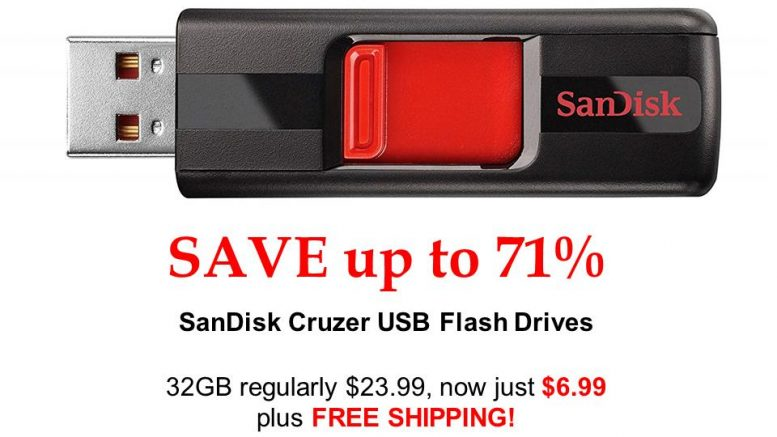 Save 71% on SanDisk Cruzer 32GB USB 2.0 Flash Drive, regularly $23.99, now just $6.99!