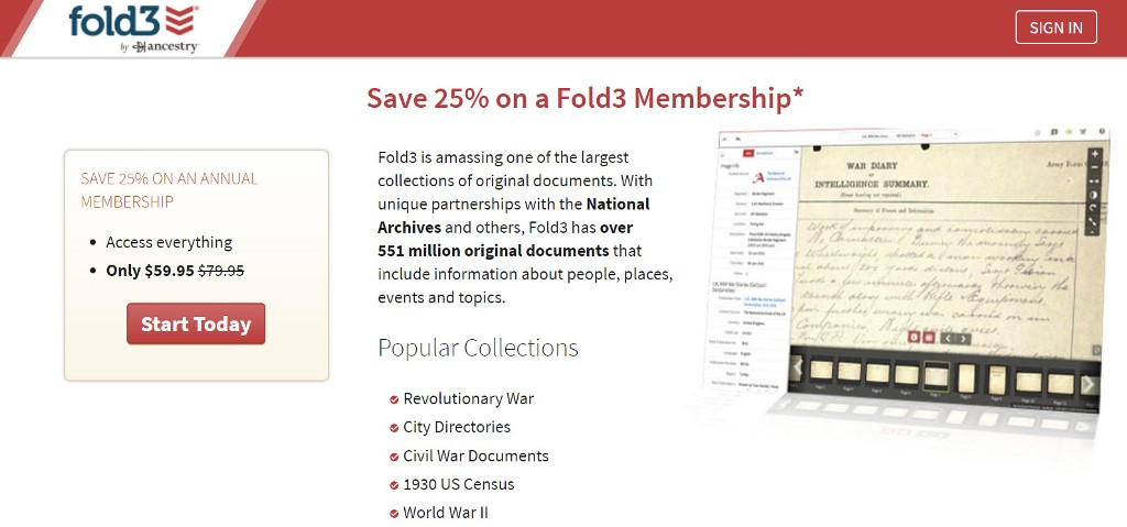 Save 25% on Fold3 Annual Subscription!