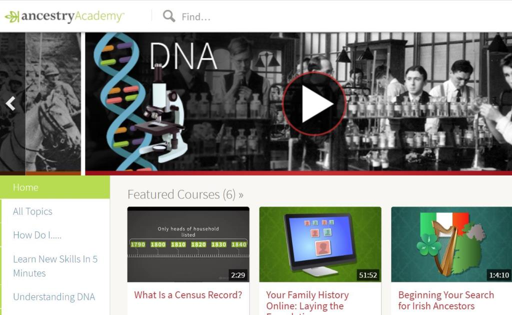 "FREE ACCESS to Ancestry Academy® Courses! ""Ancestry Academy® is a collection of free video tutorials containing research tips, genealogy insights, and DNA tools. From any page on Ancestry®, click the Extras tab and select Ancestry Academy. Search for videos at the top or scroll through topics on the left side of the page."""