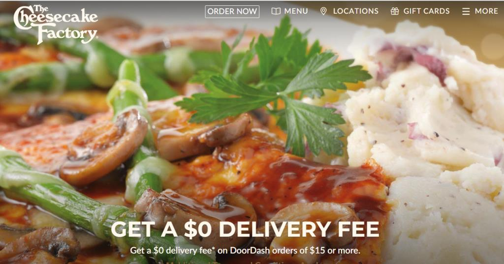 CheeseCake Factory: FREE DELIVERY via DoorDash on Orders over $15 PLUS FREE CHEESECAKE!