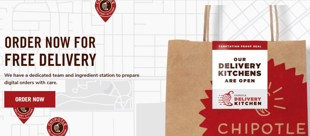"""FREE DELIVERY at Chipotle on orders of $10 or more! Valid through March 31st. """"To celebrate the delicious news, we're offering FREE Delivery for Chipotle orders of $10 or more. Yup. We said FREE. Here's how: Step 1: Go to chipotle.com or our Chipotle app on your iOS or Android mobile device. Step 2: Build an order of $10 or more. Step 3: Select delivery and submit your order. Step 4: Sit back and wait for our delivery partner to bring your burrito bliss right to your door."""