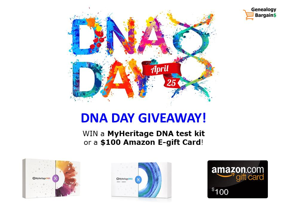 Enter the DNA Day Giveaway this week and you could win an amazing prize! Prizes include a MyHeritage DNA Ancestry test kit, a MyHeritage DNA Health + Ancestry test kit, and a $100 Amazon Gift Card! We'll select three (3) winners on Monday morning, April 27th and announce the winner over at our Facebook page. You could win this amazing prize if you enter by 11:59 pm Central on Sunday, April 26th, 2020.