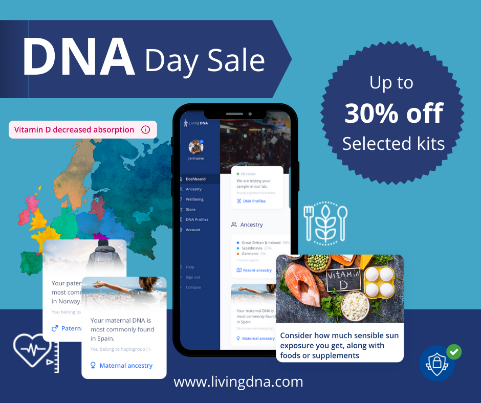 Save up to 30% plus get FREE SHIPPING during the Living DNA DNA Day Sale! A simple mouth swab is all that is needed to start exploring the world of your DNA, looking at ancestry, fitness, nutrition and more. And now at Living DNA, you can save up to 30% on a variety of different tests . . . with prices starting as low as $49!