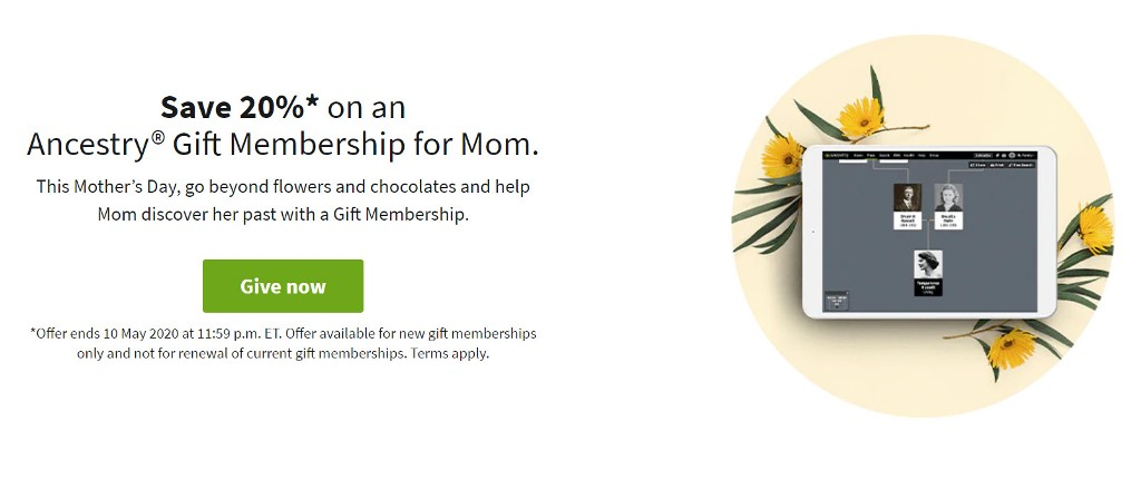 This Mother's Day, go beyond flowers and chocolates and help Mom discover her past with an Ancestry Gift Membership! Save 20%!